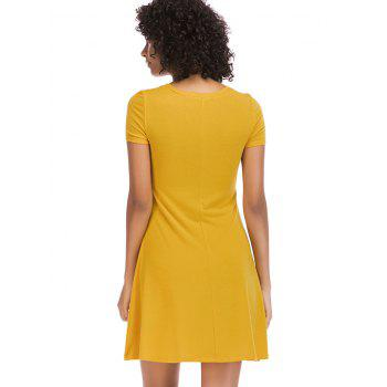 Short Sleeve Fit Casual Tunic Dress - BRIGHT YELLOW M