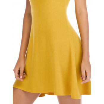 Short Sleeve Fit Casual Tunic Dress - BRIGHT YELLOW S
