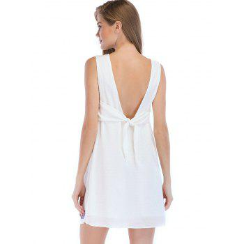 Floral Embroidery Sleeveless Casual Mini Dress - MILK WHITE L