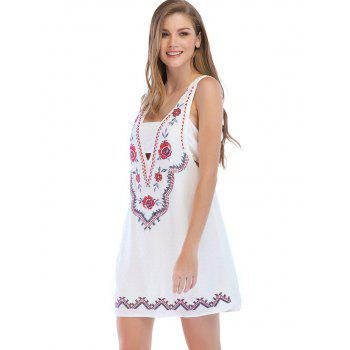 Floral Embroidery Sleeveless Casual Mini Dress - MILK WHITE M