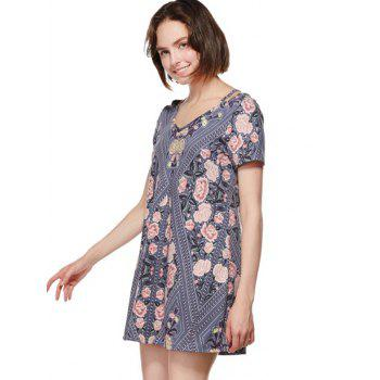 Cut Out Shoulder Flower Print Mini Dress - LIGHT SLATE GRAY L