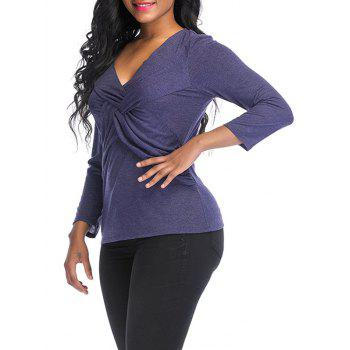 V Neck knotted Front Long Sleeve Casual Top - DARK SLATE BLUE M