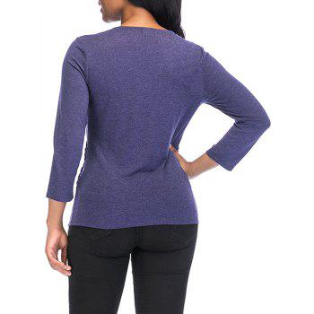 V Neck knotted Front Long Sleeve Casual Top - DARK SLATE BLUE S