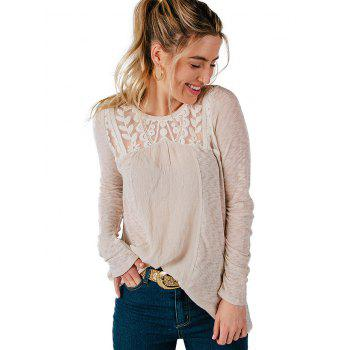 Casual Lace Patchwork Long Sleeve Blouse - WARM WHITE XL