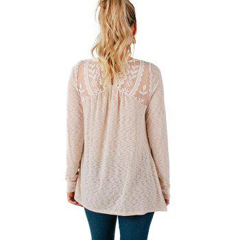Casual Lace Patchwork Long Sleeve Blouse - WARM WHITE L