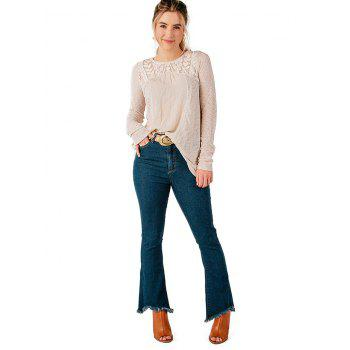 Casual Lace Patchwork Long Sleeve Blouse - WARM WHITE M