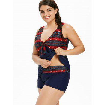 Plus Size Bowknot Geometric Tankini Set - MIDNIGHT BLUE 1X