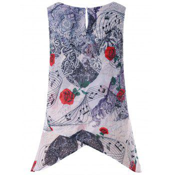 Plus Size Music Notes Floral Crescent Hem Tank Top - WHITE L