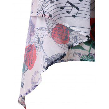 Plus Size Music Notes Floral Crescent Hem Tank Top - WHITE 3X