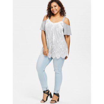 Plus Size Lace Trim Open Shoulder Top - LIGHT GRAY 2X