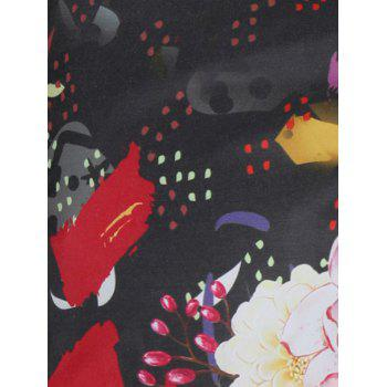 Rose Painting Short Sleeve Shirt - multicolor L