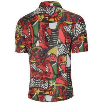 Abstract Print Slim Fit Shirt - multicolor XL