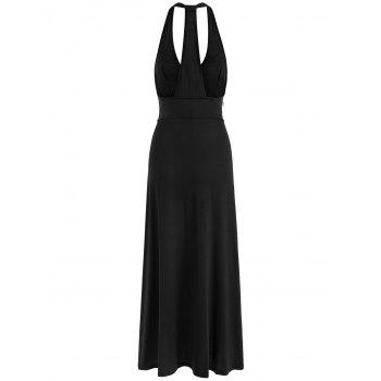 High Slit Racerback Maxi Bodycon Dress - BLACK XL