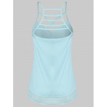 Strappy Layered Cami Top - BLUE LAGOON XL