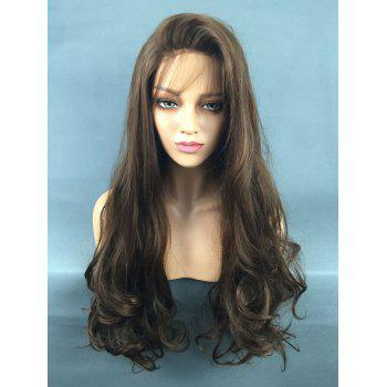 Long Side Fringe Wavy Lace Front Synthetic Wig - DEEP BROWN