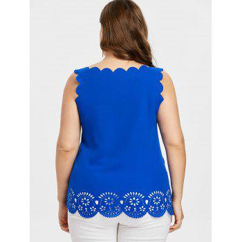 Plus Size Scalloped Edge Cutwork Tank Top - ROYAL BLUE 2X