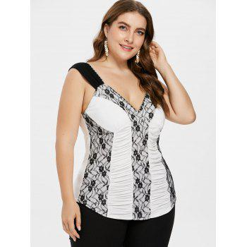 Plus Size Empire Waist Ruched Tank Top - MILK WHITE 2X