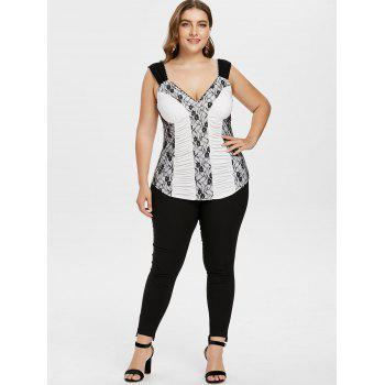 Plus Size Empire Waist Ruched Tank Top - MILK WHITE L