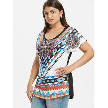Plus Size Ethnic Print T-shirt - WHITE 1X