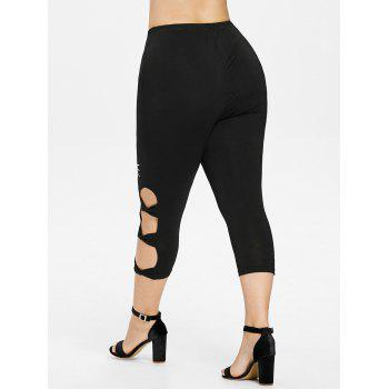 Plus Size Cutout Bow Capri Leggings - BLACK 1X