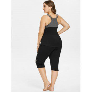 Plus Size Tank Top with Print Leggings - BLACK 3X