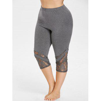 Lace Hem Plus Size Capri Skinny Pants - SMOKEY GRAY 3XL