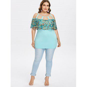 Plus Size Cutout Mesh Overlay T-shirt - LIGHT CYAN 5X