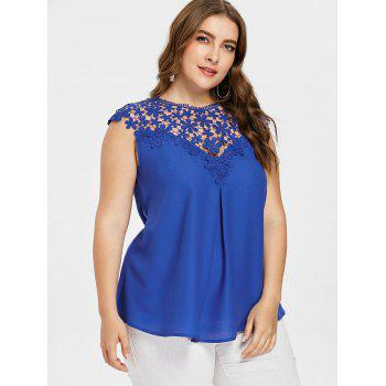 Crochet Insert Plus Size Sleeveless Top - BLUE 2XL