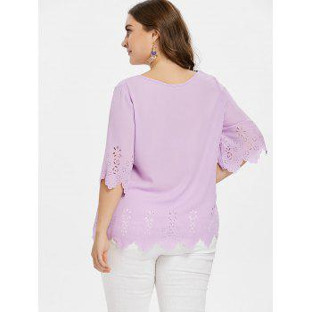 Plus Size Hollow Out Blouse - MAUVE 4X