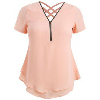 Plus Size Plunging Tiered Blouse - ORANGE PINK 4X