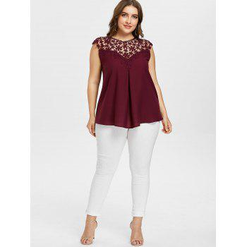 Crochet Insert Plus Size Sleeveless Top - RED WINE 2XL