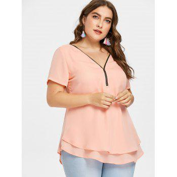 Plus Size Plunging Tiered Blouse - ORANGE PINK 5X
