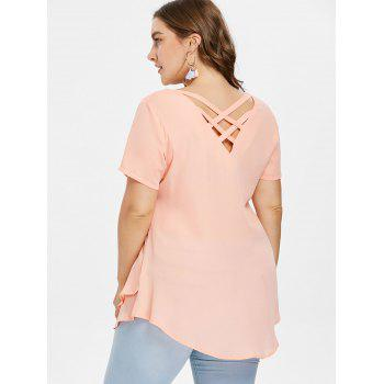 Plus Size Plunging Tiered Blouse - ORANGE PINK L
