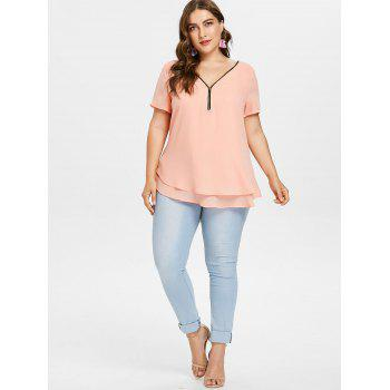 Plus Size Plunging Tiered Blouse - ORANGE PINK 3X
