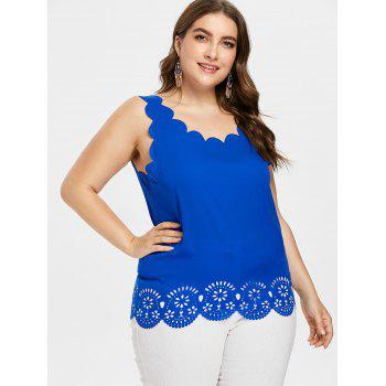 Plus Size Scalloped Edge Cutwork Tank Top - ROYAL BLUE 1X