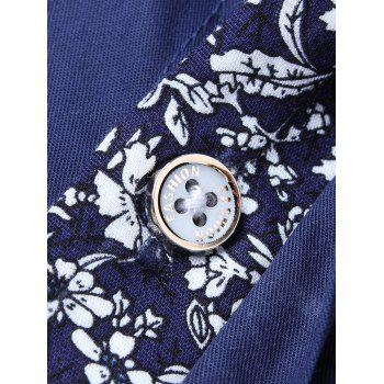 Chest Pocket Flower Panel Shirt - LIGHT BLUE XL