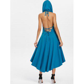 Halter Convertible Hooded High Low Dress - BLUE 2XL