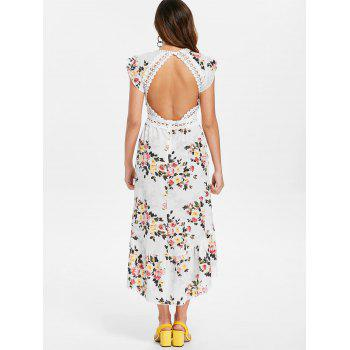 Floral Print Applique Maxi Dress - WHITE S
