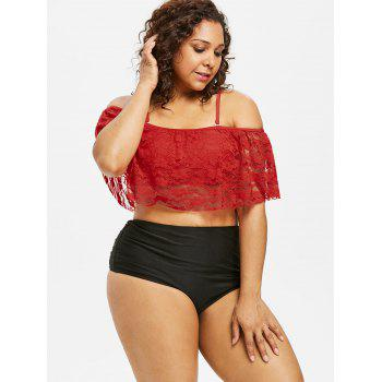 Plus Size Floral Lace Overlay Bikini Set - RED 5X