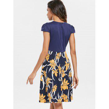 Plunge Floral Print Flared Dress - DEEP BLUE XL
