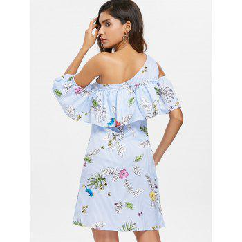 Ruffled Floral One Shoulder Dress - BABY BLUE S