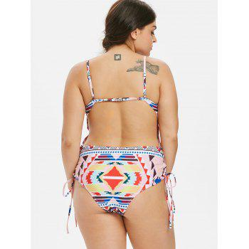 Plus Size Geometric Cami Swimsuit - PINK 5X