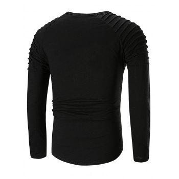 Applique Round Neck T-shirt - BLACK M