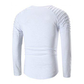 Applique Round Neck T-shirt - WHITE M