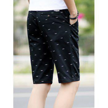 Fishbone Print Zipper Fly Casual Shorts - BLACK 3XL