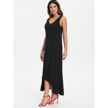 Sleeveless Crescent Hem Maxi Dress - BLACK 2XL