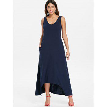 Sleeveless Crescent Hem Maxi Dress - MIDNIGHT BLUE S