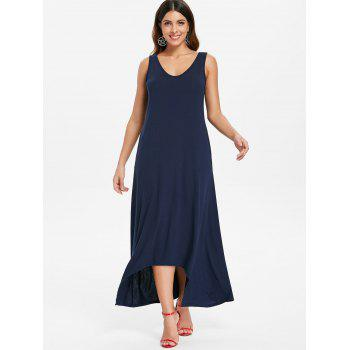 Sleeveless Crescent Hem Maxi Dress - MIDNIGHT BLUE M