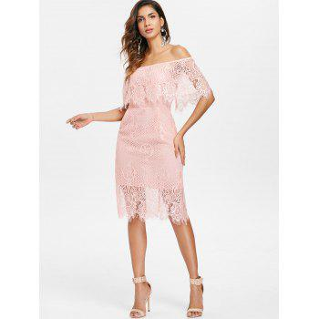 Off Shoulder Ruffled Lace Bodycon Dress - LIGHT PINK L