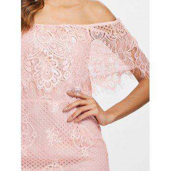 Off Shoulder Ruffled Lace Bodycon Dress - LIGHT PINK S